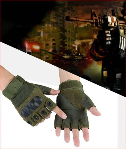 NIRVA Tactical Rubber Hard Knuckle Gloves Fit for Outdoors Exercise Climbing Racing Gym & Fitness Gloves