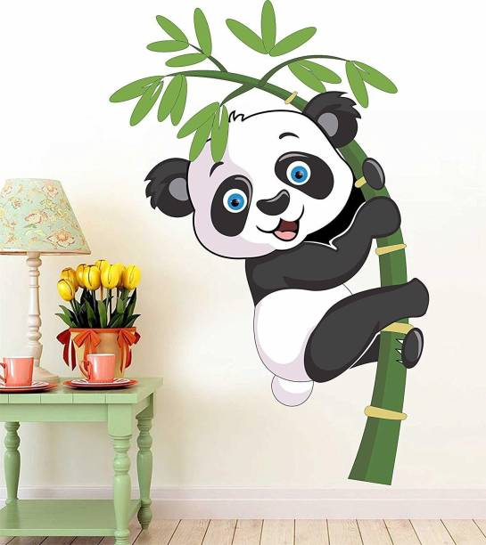 Pixel Print Medium Design Rectangular 'Baby Panda for Kids Room Wall Stickers