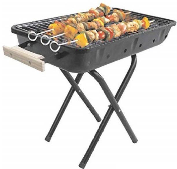 Chefman Portable Outdoor Barbeque Charcoal BBQ Grill Black 4 Skewers 1 Iron Grill (Black) Charcoal Grill