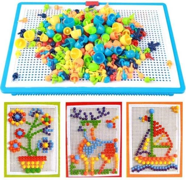 Parteet Creative Jigsaw Puzzle Building Nails Blocks | Colorful Nails | Pegboard
