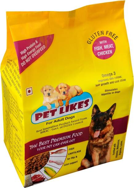 PET LIKES Food For Adult Dogs Chicken, Fish 4 kg Dry Adult Dog Food