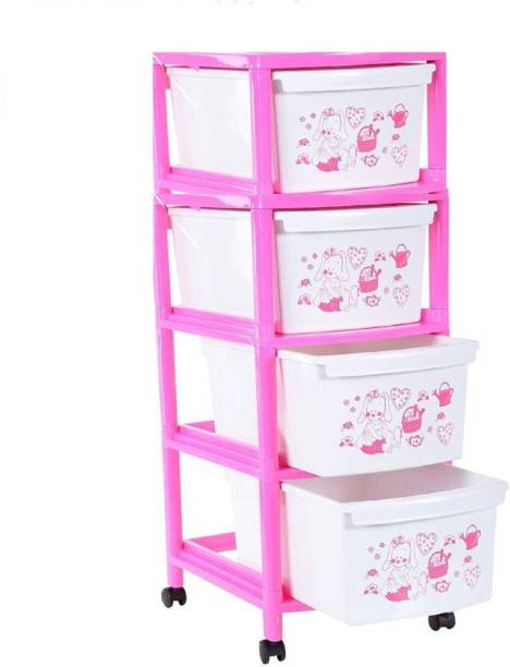 Liza pink color 4 drawer set Plastic Free Standing Cabinet