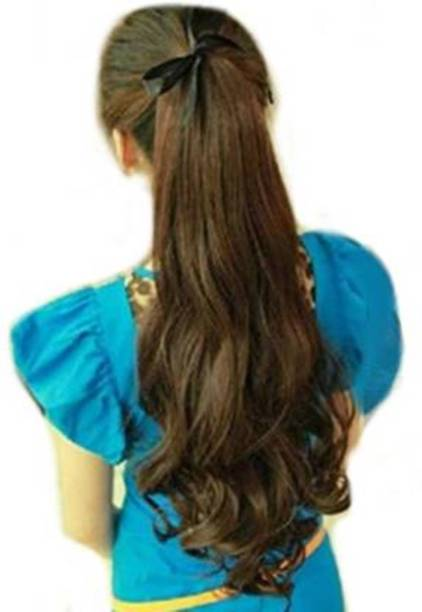 D-DIVINE Brown Curly Ribbon Ponytail Hair Extension
