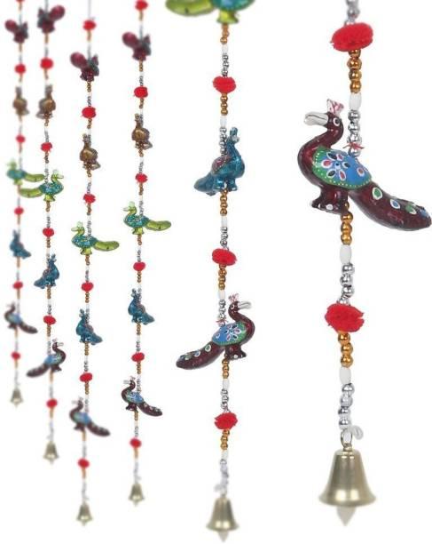 New Jaipur Handicraft Rajasthani Peacock Hanging Toran 5 Line Door Hanging Toran