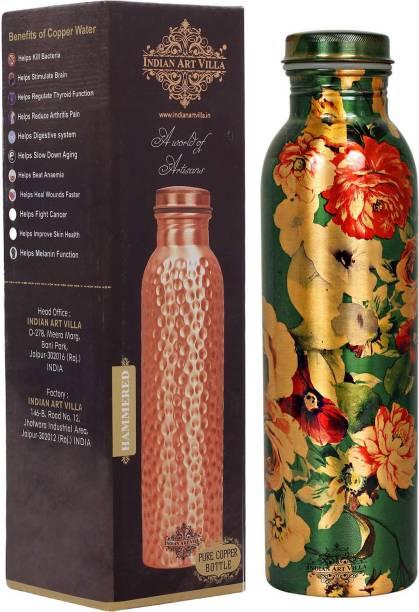 IndianArtVilla Copper Printed Flower Design Bottle, 1600 ML 1600 ml Bottle