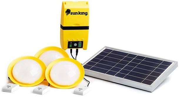 Sun King Home 120 , 3 Solar Ceiling Lights with High Energy Storage capacity and a USB Charging Port Solar Light Set