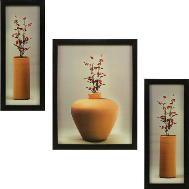 Indianara 3 PC SET OF FLORAL PAINTINGS WITHOUT GLASS (1055) 5.2 X 12.5, 9.5 X 12.5, 5.2 X 12.5 INCH Digital Reprint 12.5 inch x 9.8 inch Painting