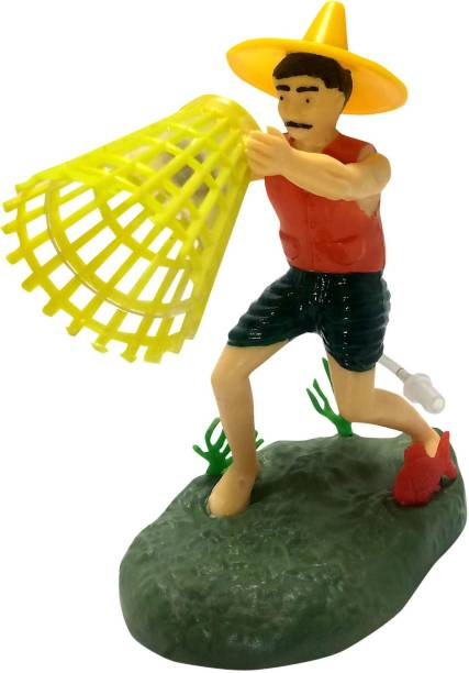 AQUA Decorative Fisher man Toy With Air Bubble Arrangement In aquarium Laterite Unplanted Substrate
