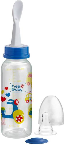 Beebaby Gentle 2 in 1 Baby Feeding Bottle with Plastic Feeder Spoon. (Blue) (250 ML / 8 Oz.) - 250