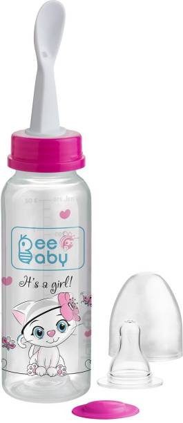 Beebaby Gentle 2 in 1 Baby Feeding Bottle with Plastic Feeder Spoon. (Pink) (250 ML / 8 Oz.)  - Silicone