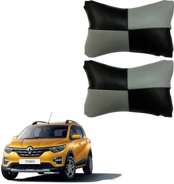 AdroitZ Black, Grey Leatherite Car Pillow Cushion for Renault