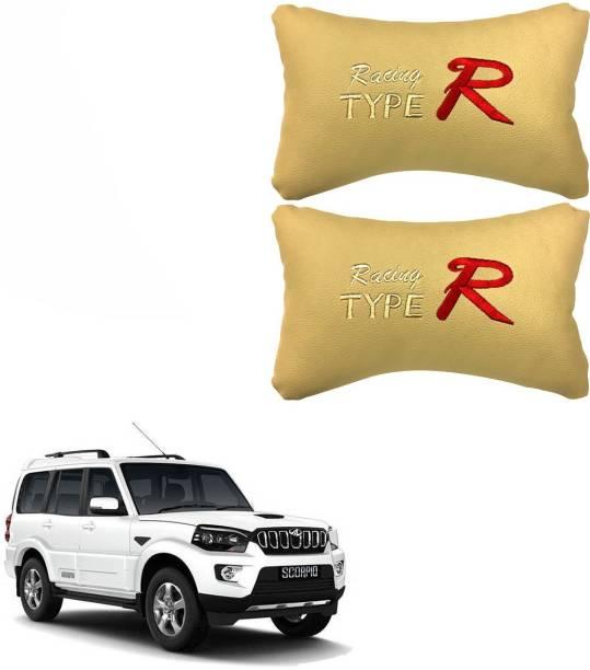 PulGos Beige Leatherite Car Pillow Cushion for Mahindra