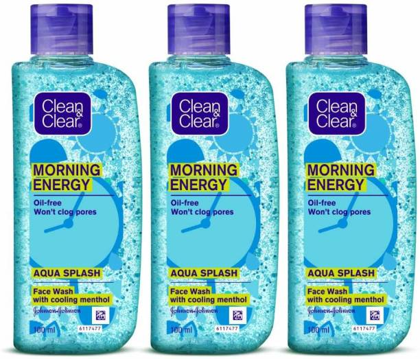 Clean & Clear Aqua Splash, Blue, 100 ml (Pack of 3) Face Wash