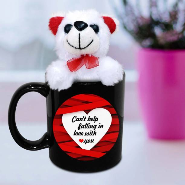 HOT MUGGS Can't Help Falling in Love with You with Teddy Ceramic Coffee Mug