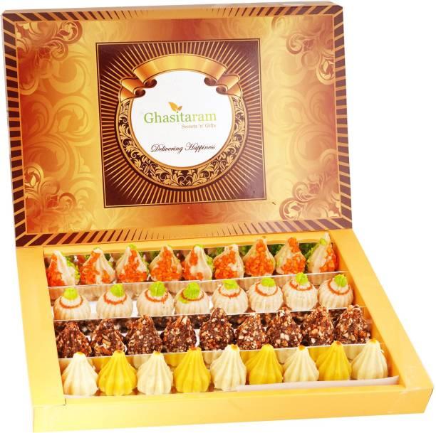 Ghasitaram Gifts Sweets-Box of Mawa, Kaju, Chocolate and Kesar Pista Modaks 800 gms Box