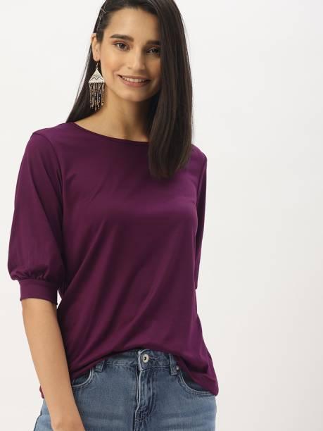 Dressberry Casual Bishop Sleeve Solid Women Purple Top
