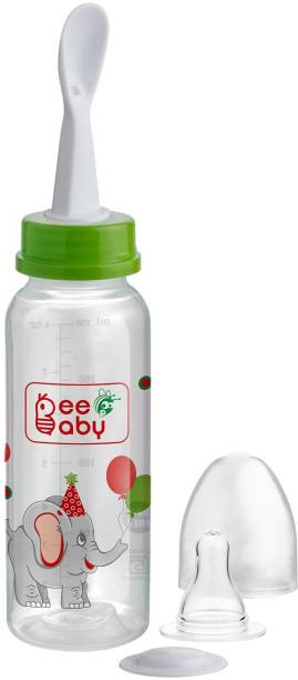 Beebaby Gentle 2 in 1 Baby Feeding Bottle with Plastic Feeder Spoon. (Green) (250 ML / 8 Oz.) - 250