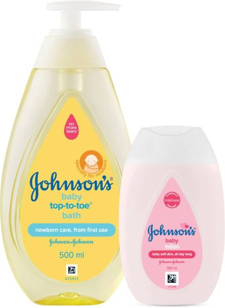 JOHNSON'S Baby Top to Toe Baby Bath (500ml) with Baby Lotion (100ml)