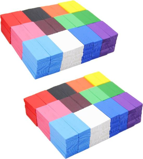 Shopoholic 12 Colour Creative Wooden Colored Domino Blocks for Model Building(240pcs)