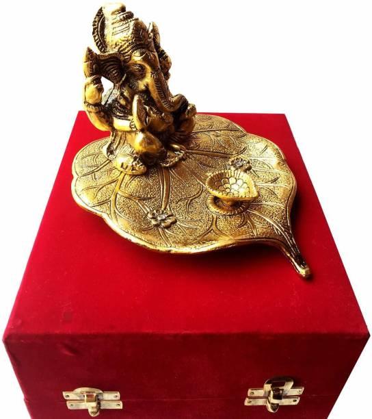 INTERNATIONAL GIFT Gold Plated Leaf Ganesh with Diya God Idol with Beautiful Velvet Box Religious Tile