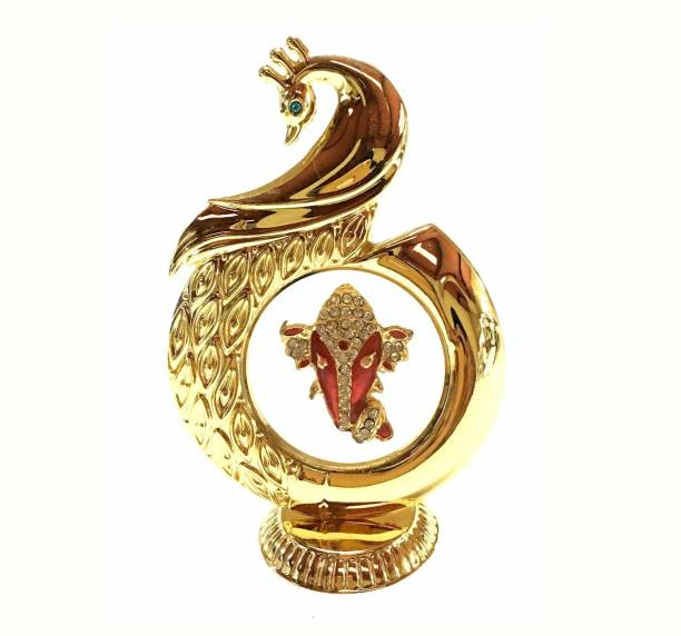 INTERNATIONAL GIFT Gold Plated Peacock Shape Ganesha Ganesh Ganpati 12 Cm Car Dashboard Religious Tile