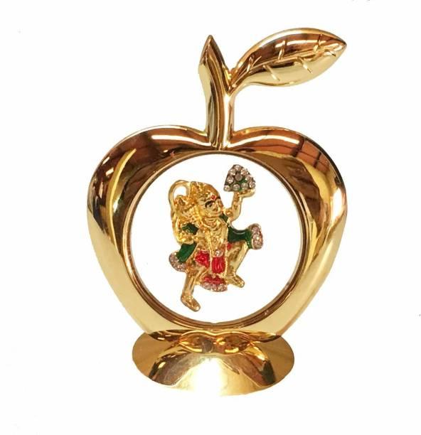 INTERNATIONAL GIFT Gold Plated Apple Shape Hanuman God Idol Car Dashboard and Home Temple 12 Cm Religious Tile