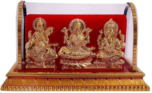 INTERNATIONAL GIFT Gold Plated Lord Ganesh & Maa Lakshmi & Maa Sarswati Acrylic Idol/Hindu Religious Tile
