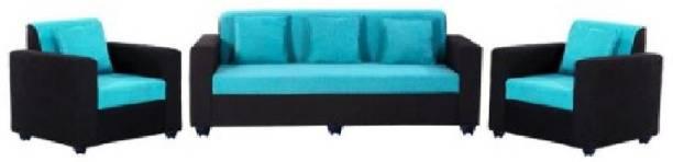 sreebala Leather 3 + 2 black Sofa Set
