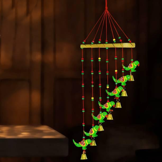 DreamKraft Handcrafted Parrot Door Hanging Wood Windchime Plastic, Wood Windchime