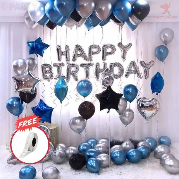 Party Propz appy Birthday Letter Foil Balloon Set of Silver + Pack of 30 HD Metallic Balloons (Blue, Black and Silver)