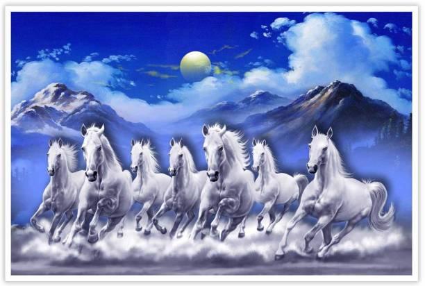 Elegent Seven Horse Vaastu Paper Poster Paper Print