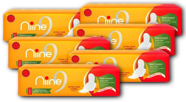 niine Extra Long Sanitary Pads for women (Pack of 6), With disposable bags inside, 36 Pads Count Sanitary Pad