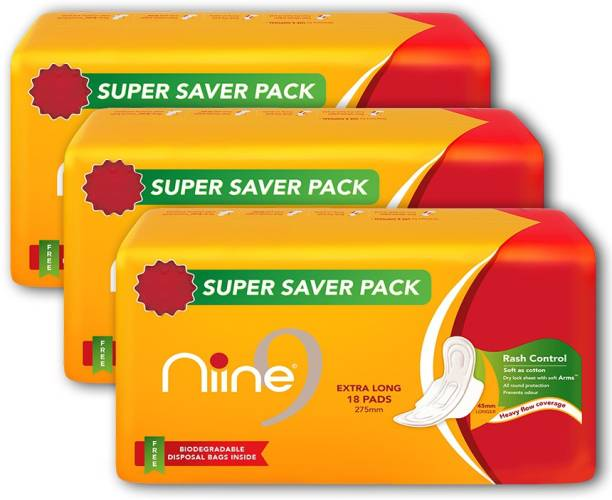 niine Extra Long Sanitary Pads for women (Pack of 3), With disposable bags inside, 54 Pads Count (Super Saver Pack) Sanitary Pad