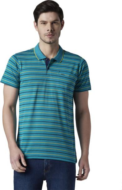 PARK AVENUE Striped Men Polo Neck Dark Blue T-Shirt