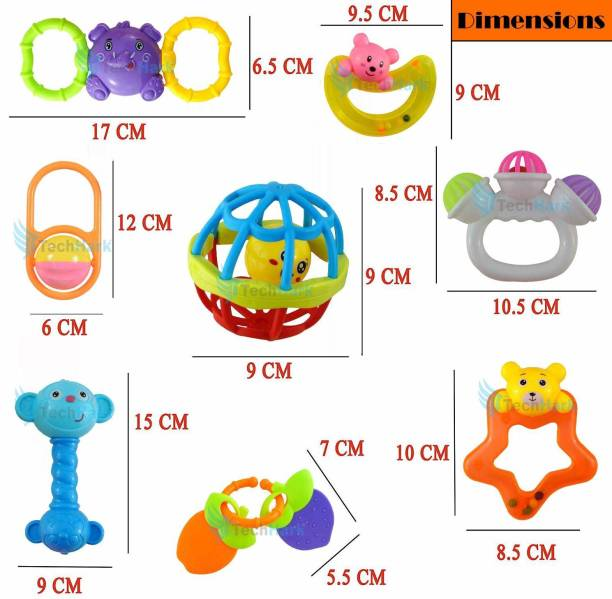 hinik Rattles and Teether for Babies, Set of 7 Pcs - Rattle Rattle