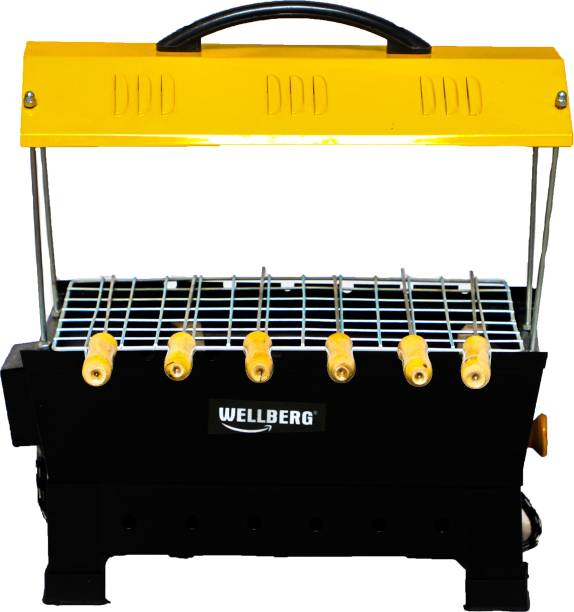WELLBERG 2-in-1 Smart Stylish Charcoal & Electric Barbeque Grill Combo Free Three Gift One Grill Stand, 6 Skewers, One Steel Tong Electric Grill