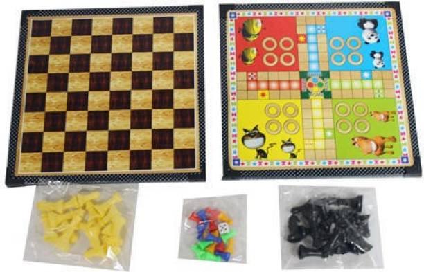 AUTEMOCARE Ludo & Chess Wooden Board_01 Indoor Sports Games Board Game