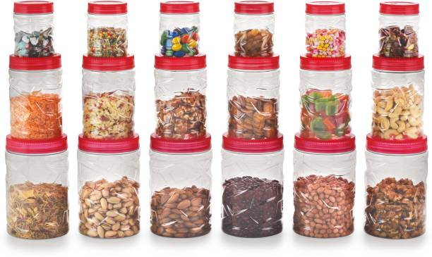 Sky Lexus Celebration 18 Pieces Storage Container Gift Set For Kitchen,(Red)  - 300 ml, 750 ml, 1400 ml Plastic Grocery Container