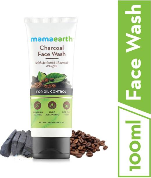 MamaEarth Charcoal Natural  for oil control and pollution defence 100 ml - For Oily Skin - SLS & Paraben Free Face Wash