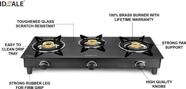Ideale Tresso Glass, Stainless Steel Manual Gas Stove