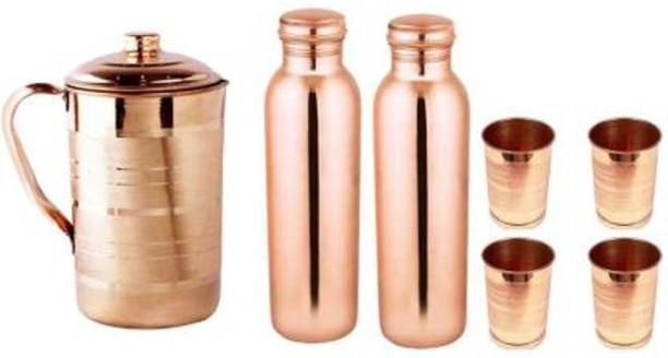 Copper water Bottle Set Container Ayurveda Health set yoga Hand painted Meenakar