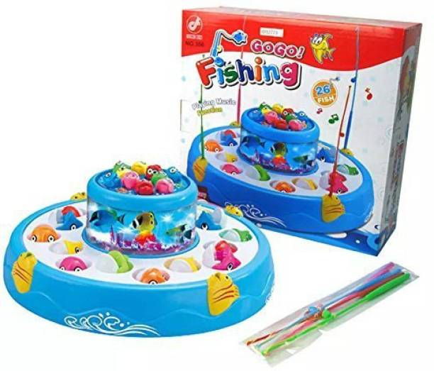 shubhcollection Fishing Electric Rotating Magnetic Fish Catching Game With Musical Lights (Multicolor) (Multicolor)