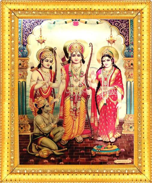 BCOMFORT Lord Ram Sita Laxman Attractive Wall,Festive,Home Decor Spiritual Religious Idol Wall Hanging Wood Glass Photo Frame Decorative Gift Item Figurine Painting With Wallpaper, Poster,Foil Paper,Sticker Decorative Religious Frame