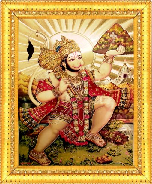BCOMFORT Lord Hanuman Attractive Wall,Festive,Home Decor Spiritual Religious Idol Wall Hanging Wood Glass Photo Frame Decorative Gift Item Figurine Painting With Wallpaper, Poster,Foil Paper,Sticker Decorative Religious Frame