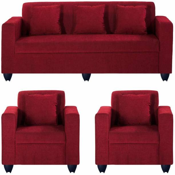 royal wood Leather 3 + 1 + 1 red Sofa Set