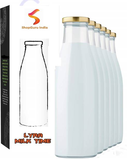 shopguru india Lyra Glass Milk, Water and Juice Bottle with Air Tight Cap, 1 Litre, Set of 6 , 1000 ml Bottle