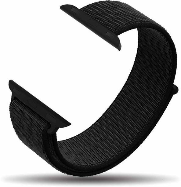Tingtong Soft Lightweight Breathable Nylon Loop Sport 38mm/40mm Black Smart Watch Strap