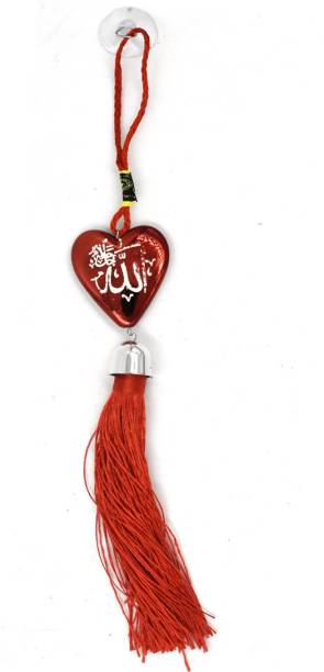 faynci Allah Decoratibe Heart Red Car Rearview Mirror Hanging Ornament Car Hanging Ornament