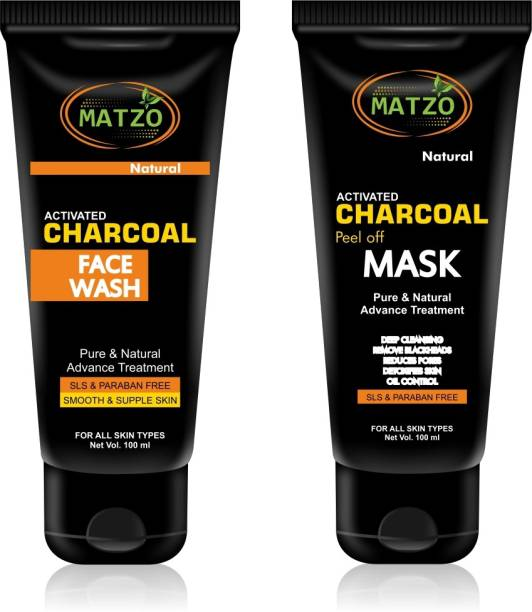 Matzo Natural Activated Charcoal Face Wash and Peel Off Mask Combo