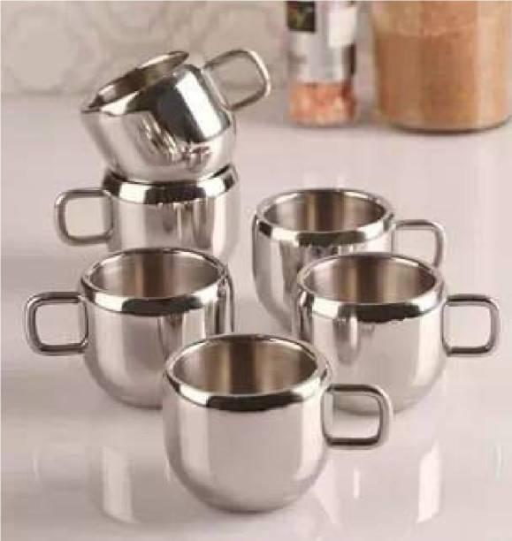 Arisudan Pack of 6 Stainless Steel Steel Cups for Tea Set of Six Stainless Steel Heavy Gauge Double Walled Tea/Coffee Cup